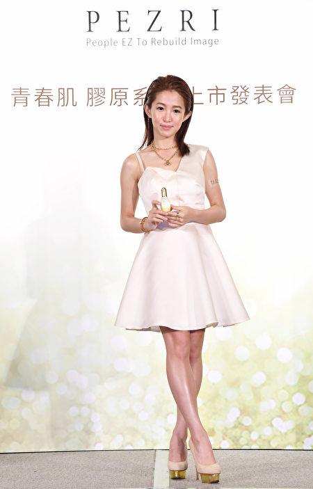 郭书瑶6月6日抽空在台北出席保养品记者会。(联太公关提供)