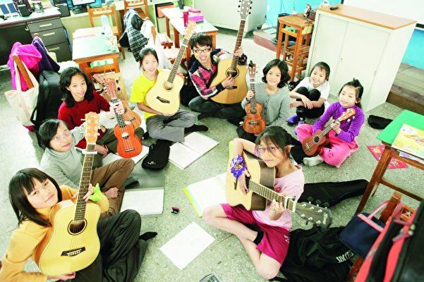 学音乐可以启发孩子的五官六感,是大坪重要的教学特色。(大坪国小提供)