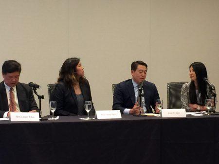 美國亞裔律師協會5月31日在紐約舉辦研討會。圖為四位嘉賓(從左起)陳丹尼、孟昭文、金賢俊和Susan Shin。