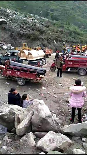 四川茂县山体垮塌事件现场。(受访者提供)