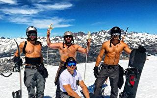 热浪滚滚 加州内华达山有人光膀子滑雪