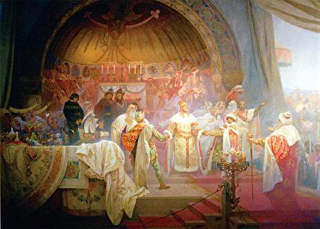 慕夏的《斯拉夫史诗》有一幅描述欧塔卡二世主持侄女和匈牙利王子的婚礼之作。(《捷克经典》/柿子文化)