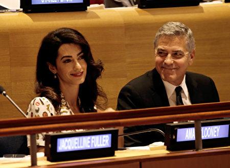 周二(6月6日)早上,好莱坞影星、奥斯卡得主克鲁尼(George Clooney)的妻子、人权律师阿曼(Amal Clooney)喜获一对双胞胎。(Photo by Peter Foley - Pool/Getty Images)