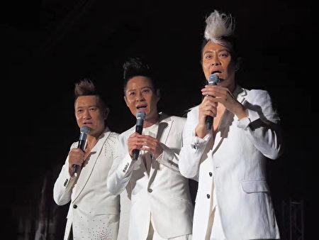 「草蜢」樂隊於5月28日在美國雷諾舉辦演唱會,左起分別為蘇志威、蔡一傑、蔡一智。(圖片由麥田國際提供)