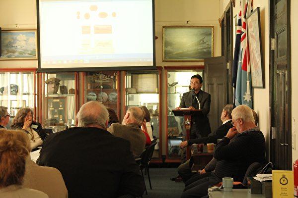 2017年6月5日前中共外交官陳用林受邀在阿德萊德為南澳智囊RUSI-SA的成員發表演講。(劉珍/大紀元)
