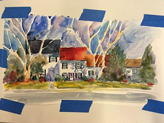 塔蔻瑪水彩畫協會畫家邁克爾(Michael Shibley)現場展示倒映水彩畫,將剛完成的水彩畫印在另一張畫紙上,別具朦朧之美。(周翰音/大紀元)