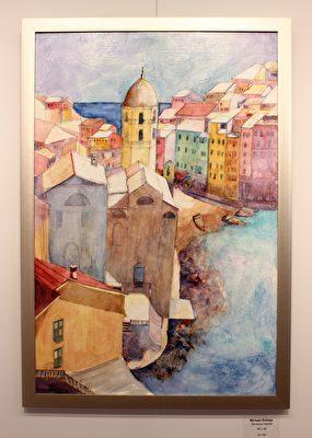 塔蔻瑪水彩畫協會畫家邁克爾(Michael Shibley)的畫作韋爾納扎港(Vernazza Harbor)。(周翰音/大紀元)