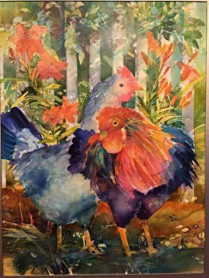 美京藝廊水彩創意畫展展出的作品《公雞》(Rooster)。(周翰音/大紀元)