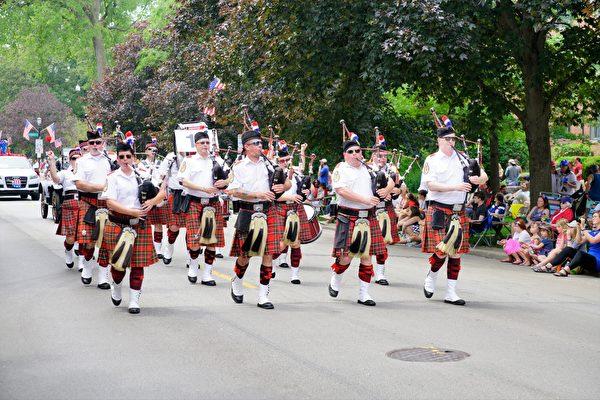 蘇格蘭風笛隊。(David Yang/大紀元)