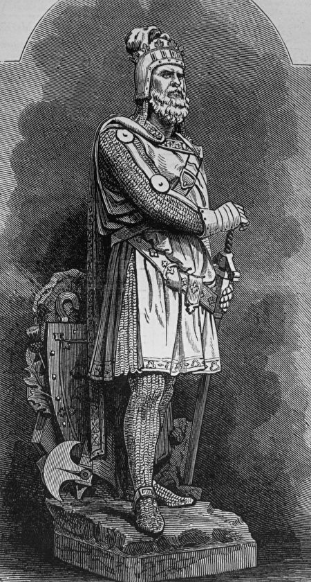 Circa 1310, An engraving of a statue at Stirling of Scottish patriot Robert Bruce (1274 - 1324), King of Scotland (1306 - 1329).