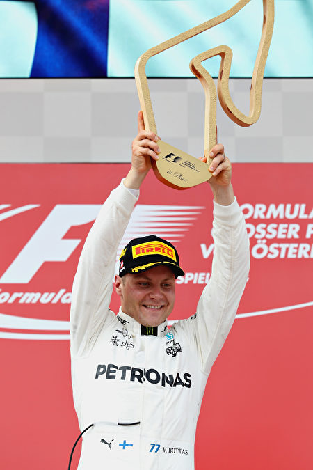 F1奥地利站,杆位发车的梅赛德斯车手博塔斯收获职业生涯第二个分站冠军。(Mark Thompson/Getty Images)