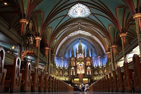 蒙特利爾美輪美奐的大教堂。(Sunny/大紀元)