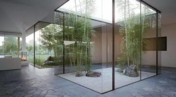 干净利落的现代式内院。(湾区建筑师Susan Chen提供)