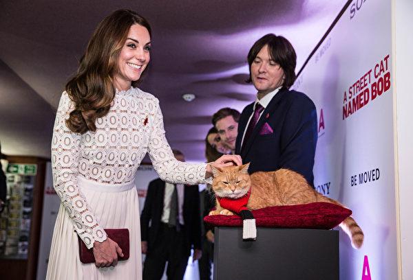 凯特王妃(左)轻抚Bob街猫的头,而Bob甩尾回应,图右为原著小说作者詹姆士‧伯恩。(Richard Pohle – WPA Pool/Getty Images)