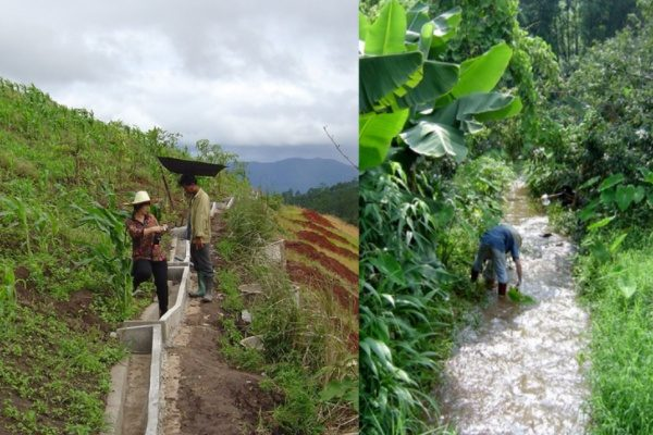 (左圖)清邁大學土壤學教授,在果園坡地建造水泥槽,檢測下雨後有多少泥土被沖刷下來。(右圖)清邁大學的研究生,定期在農田附近小溪取水,檢測有無化學肥料的鉛汙染。 (圖片來源/黃樹民提供 圖說重製/張語辰)