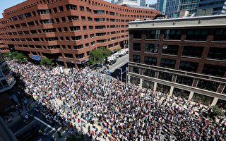 組圖:波士頓上萬人遊行反種族主義