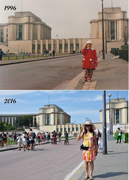 2016年時,作為來法國20年的紀念,亦凡故地重遊,回到20年前拍照的巴黎景點。(亦凡提供)