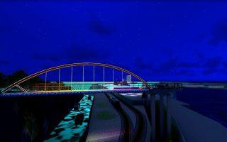 光雕彩绘花莲港湾  年底完工景观桥