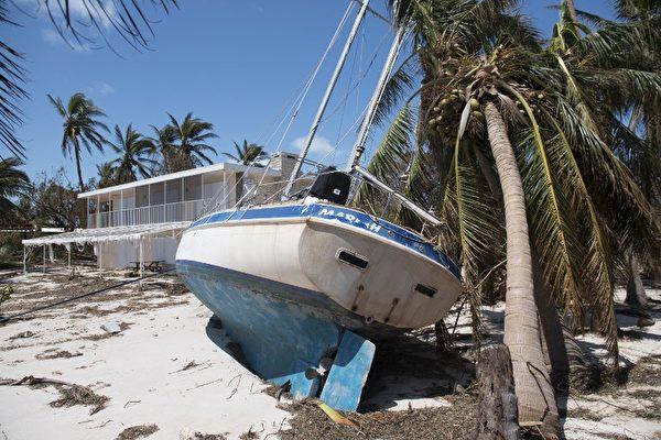 在佛羅里達礁島群伊斯拉摩拉達(Islamorada)群島,9月12日可看到艾瑪颶風吹到陸地上的一艘船。(AFP PHOTO / SAUL LOEB)