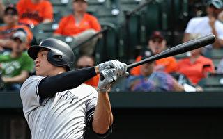 MLB贾吉敲双响炮 单季破40轰第2人