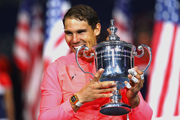 西班牙天王纳达尔获得2017年美网冠军。 (Clive Brunskill/Getty Images)