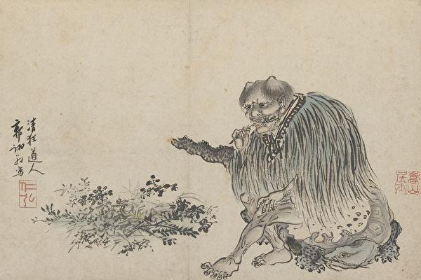 明 郭詡《人物圖冊‧神農》。(維基百科公共領域)