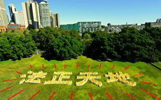 組圖:澳洲法輪功學員排字「法正天地」