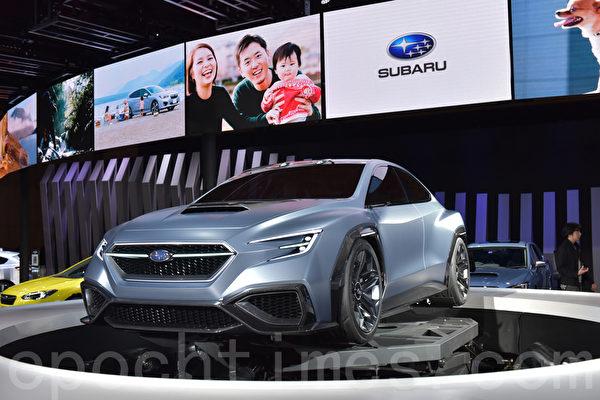 第45届东京车展于10月27日至11月5日在东京Big Sight展览馆举行。斯巴鲁全球首次发布的VIZIV PERFORMANCE CONCEPT是将安心与愉悦的造车愿景具体化的跑车型轿车。(野上浩史/大纪元)
