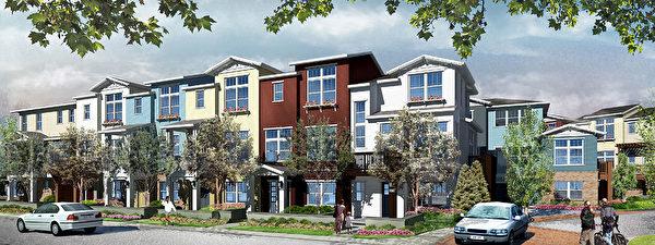 Mountain View新房,Classics开发的Classics at Permanente Creek小区。(湾区房地产经纪Li Jin提供)