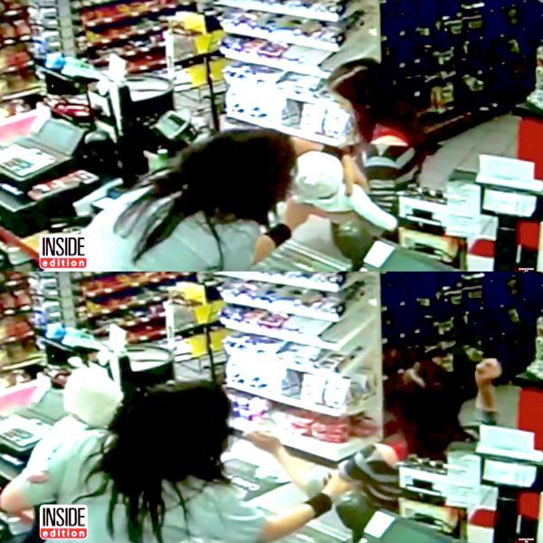上下两张图相差不到几秒钟,这整件事的发生让店员雷贝卡惊吓不已。(视频截图/大纪元合成)