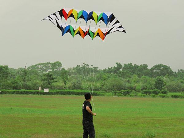 林務局花蓮林區管理處8日起一連兩天,在花蓮光復鄉大農大富平地森林園區舉辦風箏節活動,各式風箏在天 空徜徉,為多雲天空增添繽紛色彩。(花蓮林管處提供)