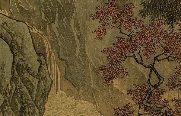 明 唐寅《溪山渔隐图》局部,左边岩块比较像小斧劈皴,右岩块则属披麻皴,留下的白边使岩块产生一种鲜活的感觉。(公有领域)