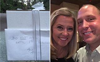 這對美國夫婦在2007年結婚後,從未打開一份結婚禮物,時隔九年終於在去年拆開了。(FB:LoveWhatMatters,Brandon Gunn/大紀元合成)