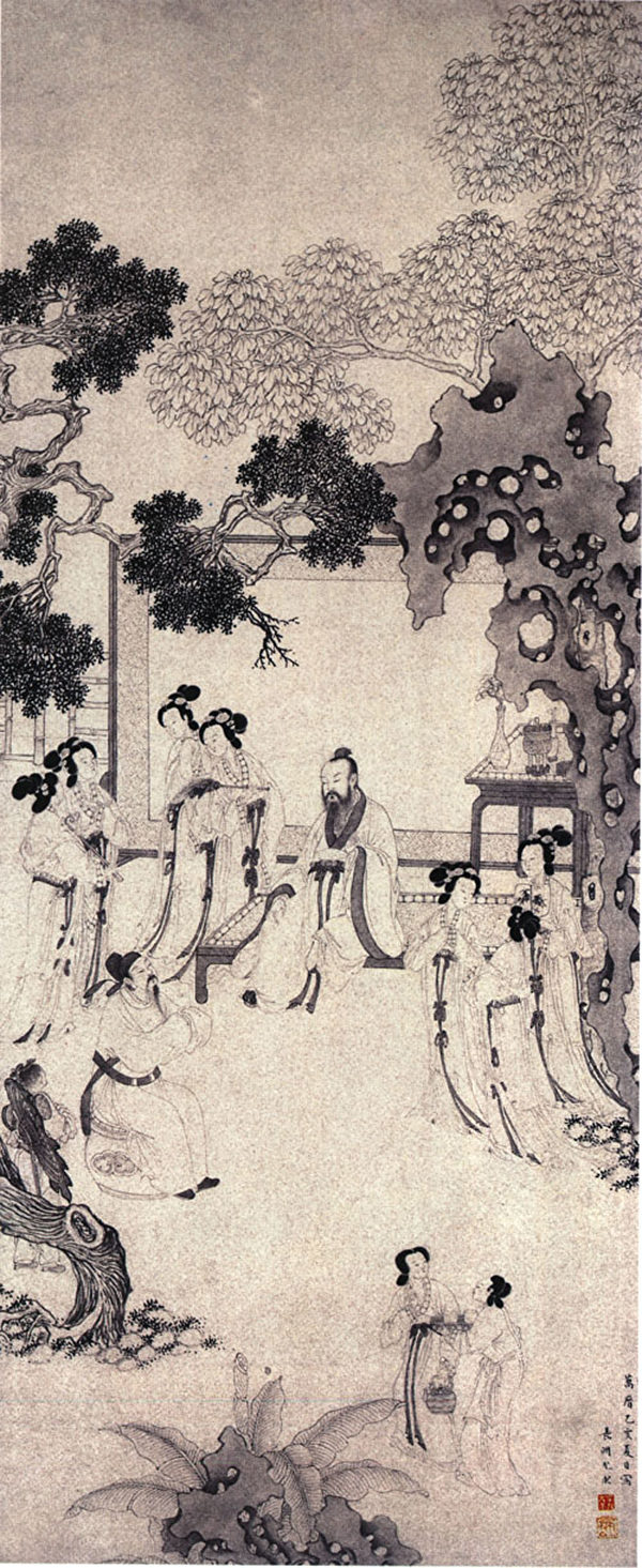 明尤求《紅拂圖》描繪紅拂女夜奔李靖前,李靖造訪楊素府情景。(公有領域)