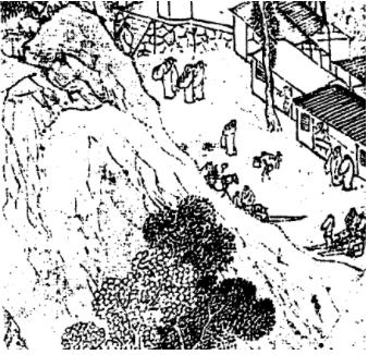 明,陸治,《支硎山圖》局部。圖右可以見到當時登山旅遊應雇的「肩輿」及「舁夫」。(圖片來源/巫仁恕提供,採自《氣勢撼人──十七世紀中國繪畫中的自然與風格》)