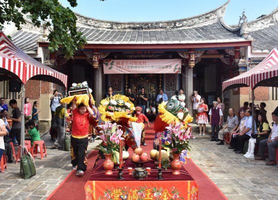 方口狮表演是新竹县新埔镇颇具地方特色的民俗技艺。(新竹县政府提供)