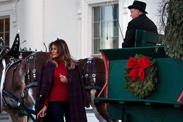 一(11月20日),美国第一夫人梅拉尼娅(Melania Trump)和儿子巴伦(Barron)一起,欢迎今年的白宫圣诞树.(AFP PHOTO / Brendan Smialowski)