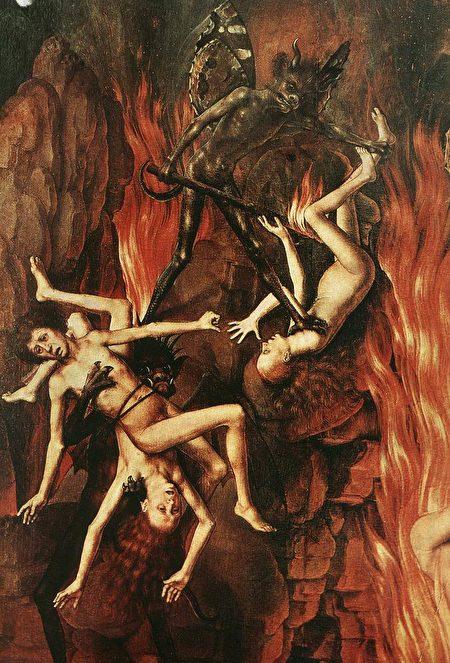 德国画家汉斯·梅姆林(Hans Memling)画作《最后的审判》局部。(公有领域)