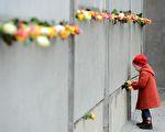 2014年11月9日,是柏林牆倒塌25周年的紀念日。圖為一個小女孩正往殘留的柏林牆插玫瑰。(JOHN MACDOUGALL/AFP/Getty Images)