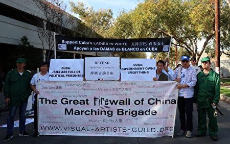 「六四」雕塑家陳維明也到場參加遊行。(徐綉惠/大紀元)