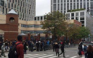 11月1日上午恐襲事發地點錢伯斯街還被封堵著。 (施萍/大紀元)