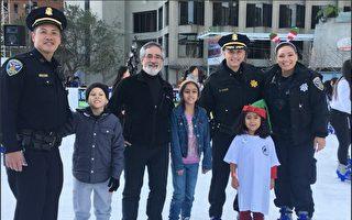 舊金山警民滑冰同樂  歡度聖誕假日