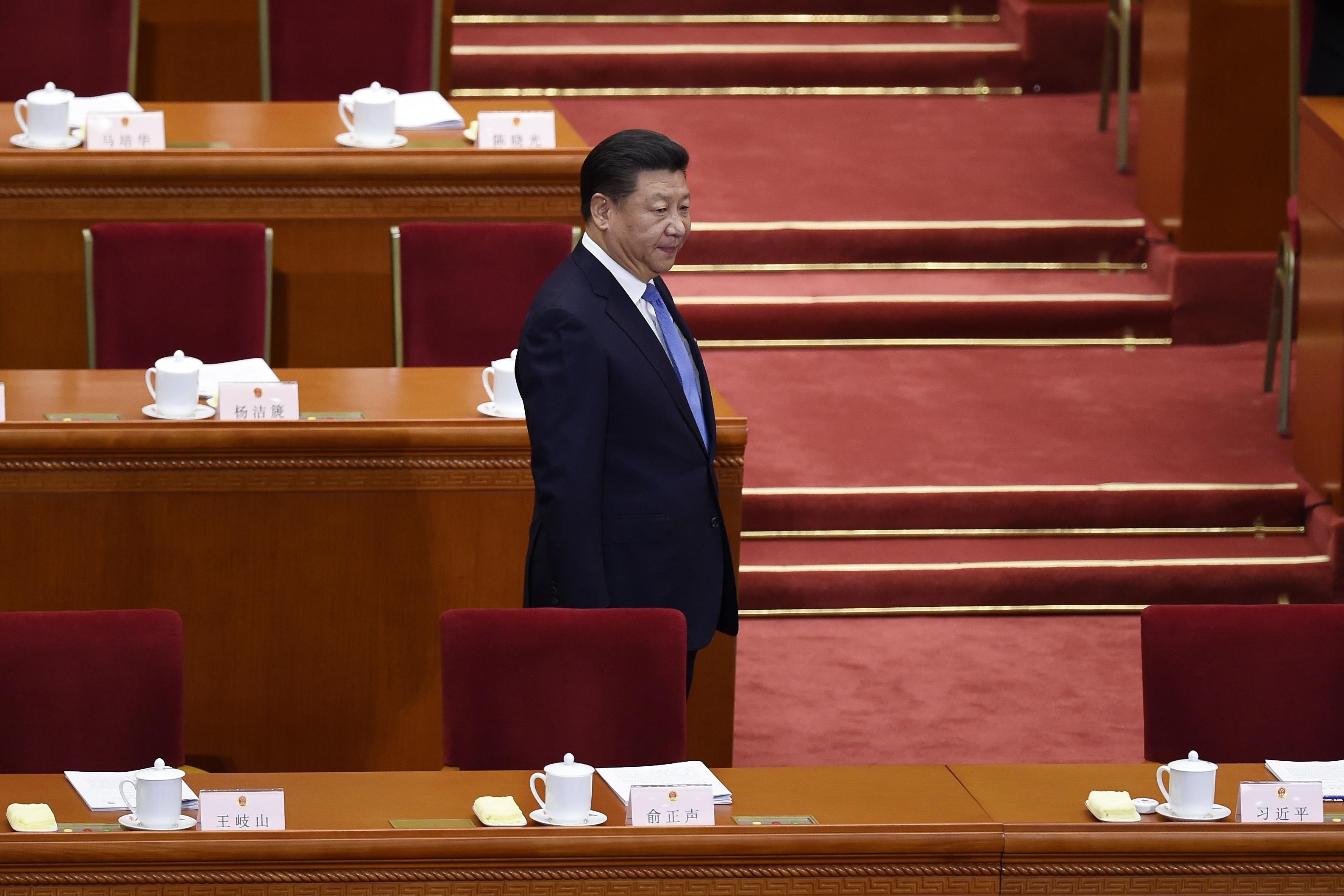 圖為習近平在中共十九大會議上。 (WANG ZHAO/AFP/Getty Images)