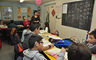 杨馥吟校长(站立者)运用侨务委员会《学华语向前走》教材教学情形。(驻法国台北代表处提供)