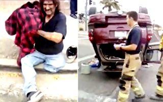突发车祸 单腿轮椅男立即现身 他的举动让人惊讶