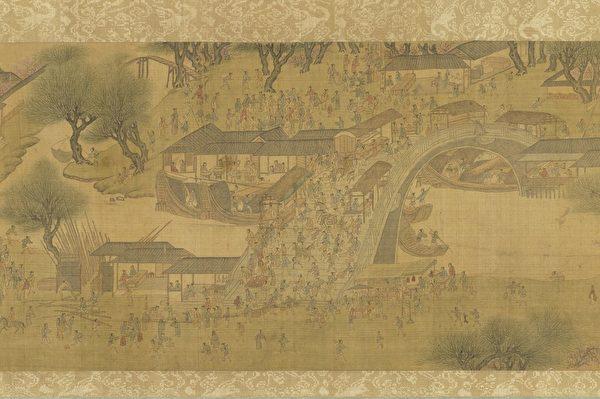 客人天天陪着韩翁游玩,他也不觉得无聊寂寞。图为明 仇英《清明上河图》,台北国立故宫博物院藏。(公有领域)