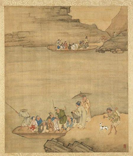 清 庄瑗《寒江待渡》,台北国立故宫博物院藏。(公有领域)