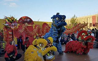 大诺瓦西市市政府花园上的舞龙舞狮表演。(关宇宁/大纪元)
