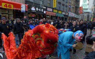 华埠庆新年 舞龙舞狮热闹迎宾