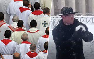 梵蒂岡6年來首次下雪 牧師們的行動讓遊客們樂翻